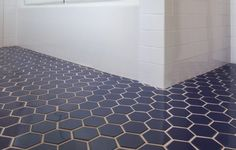 California made (70% recycled) Fireclay Tile, Hexagon pattern. Thinking bathrooms or back-splashes....