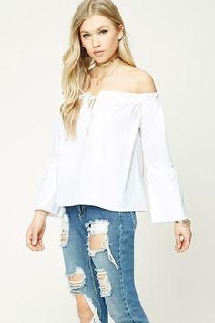 Self-Tie Off-the-Shoulder Top - Women - 2000191821 - Forever 21 EU English