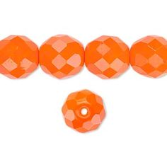 Bead, Preciosa® Czech fire-polished glass, opaque orange, 12mm faceted round. Sold per 16-inch strand.