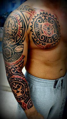 Amount of red and Greek Key I want. Taino Tattoos, Tattoos Masculinas, Mayan Tattoos, Tribal Arm Tattoos, Body Art Tattoos, Sleeve Tattoos, Tattoos For Guys, Men Henna Tattoo, Samoan Tattoo