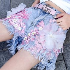Price Product information Shorts for her Sizes xs to xl Color as shown Ship in 14 to 15 working days Whatsp on for placing orders :):) BOOK YOUR ORDER SOON :):) . Flower Jeans, Flower Shorts, Ripped Shorts, Denim Shorts, Women's Jeans, Jean Jacket Outfits, Future Fashion, Fashion Line, Cosplay Outfits