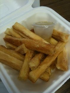 Mofongo's in NoHo has super delicious, authentic Puerto Rican food. These are their Yucca Fries with Garlic Oil. *swoon*