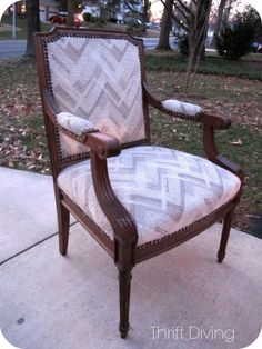 """I had found this chair at the thrift store for a little more than I normally pay ($60), but it was soooo sturdy that I had to buy it! It was good quality! I decided to paint it and reupholster it, but I had never reupholstered a chair with over 200 furniture tacks before! Once I got started, I realized: """"I can do this!"""" And I did....! It turned out beautiful! This is the BEFORE. You can see the AFTER on the post. :)"""