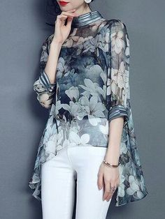 High neck three quarter sleeve loose fitting floral chiffon top with high low hem