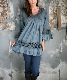 Another great find on #zulily! Ananda's Collection Gray Lace-Cutout Peasant Tunic by Ananda's Collection #zulilyfinds