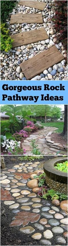 * Jigsaw stones, very natural look, winding pathway Source * Square stepping stone blocks, colored round stones surrounding Source * Ocean wave pattern, contrasting stones Source * Geometric pattern…MoreMore #GardeningIdeas