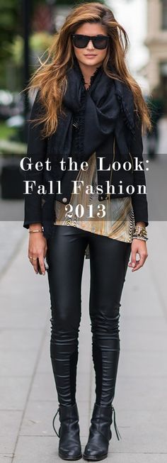 Find out where to get sweaters, leather pants, scarves, etc. to replicate your favorite fall 2013 Pinterest looks!