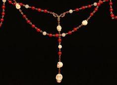 HANDMADE Catholic Skull Rosary :8mm Round Red & White Jade Gemstone Beads w/ Howlite Turquoise Skulls - Great Gift! FREE GIFT Box or Bag!