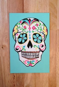 Skull painting by UrbanDreamCatchers on Etsy