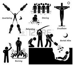 Execution Death Penalty Capital Punishment Ancient Methods Stick Figure Pictogram Icons photo