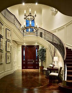 Amazing Hall Entrance Design for your House ideas. Luxury Staircase, Modern Staircase, Grand Staircase, Staircase Design, Stairs, Stair Design, Curved Staircase, Beautiful Interiors, Beautiful Homes