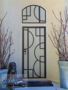 Hugo - Geometric Designed Wrought Iron Security Door with Matching Window Guard (SD0211A)
