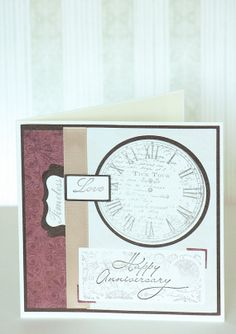 Handmade Greeting Card with Clock Tick Tock Timeless Love Happy Anniversary with Matching Envelope