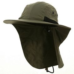 d152c8d444026 Men s Olive Fishing Boating Sun Flap Wide Bill Hat Cap  canoeing Sun Cap