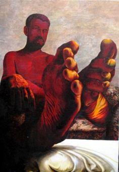 Self-portrait Oil on canvas size 100/70 cm