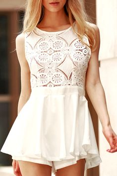 $16.04 Refreshing Backless Cut Out Lace Design Flounced Romper For Women