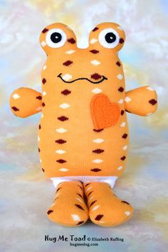 Handmade Sock Toad, Stuffed Animal Sock Doll Art Toy, Hug Me Toad, Personalized Hang Tag, Light Orange, Polka Dots, 10 inch, Ready-made, $26.00 by elizabethruffing