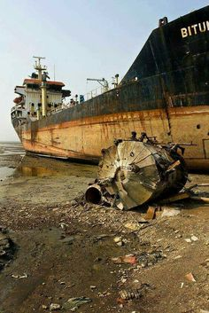 shipwreck a different take on abandonment, which consists of broken and deteriorated items Abandoned Ships, Abandoned Cars, Abandoned Places, Abandoned Vehicles, Places Around The World, Around The Worlds, Ship Breaking, Ghost Ship, Old Boats