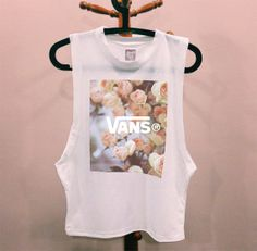 VANS Flower DIY muscle tee cutoff tshirt hipster dope tumblr prada chanel shirt quote