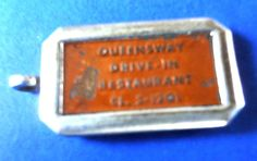Vintage 50's Advertising Key Fob QUEENSWAY DRIVE-IN RESTAURANT CL5-1201
