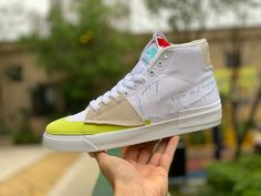 """This 2020 Nike SB Zoom Blazer Mid Edge """"Hack Pack"""" features a White canvas upper with suede overlays in Grey with a matching Pea Green Swoosh on the toe. Blue ripped-stitched and solid Swoosh logos on the sides, dual exposed-foam Read more… Shoes Uk, Toe Shoes, Jordan Shoes New Release, Blue Toes, High Top Sneakers, Sneakers Nike, Jordan 4, Jordan 1 Retro High, Shoe Sale"""