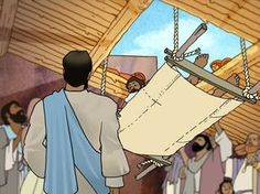 Free Visuals: Jesus heals the lame man Four friends lower a paralysed man through the roof to Jesus. Luke 5:17-26