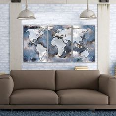 From the studios of Holy Cow Canvas, Three panel World Map on Gallery Wrapped Canvas makes a beautiful statement on any home or office wall via its unique blues, browns and tans color palette and impressionist style. Set as shown measures 64 x 30 x 1.5 depth when hung with 2 spacing