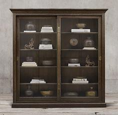 20th C. English Brass Bar Slider Glass Double-Door Cabinet