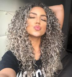 Image may contain: 1 person, closeup Curly Silver Hair, Dyed Curly Hair, Colored Curly Hair, Curly Hair Styles, Balayage Hair, Ombre Hair, Grey Blonde Hair, New Hair Look, Hair Highlights