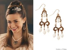 """In the episode 2x09 (""""Acts of War"""") Princess Claude wears these Stephen Dweck Bronze Butterfly Pearl Earrings ($205 $123). FYI Lola also has the same earrings;)"""