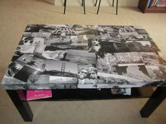 10 Creative Ways to Decoupage Your Furniture - Coffee Table DIY Decoupage Coffee Table, Ikea Lack Coffee Table, Decoupage Furniture, Diy Coffee Table, Furniture Projects, Furniture Makeover, Diy Furniture, Coffee Table Upcycle Ideas, Lack Table Hack