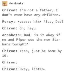 Chiron is the camp dad even out of camp sometimes Percy Jackson Head Canon, Percy Jackson Ships, Percy Jackson Quotes, Percy Jackson Fan Art, Percy Jackson Books, Percy Jackson Fandom, Solangelo, Percabeth, Percy Jackson Characters
