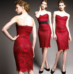 dolce and gabbana red lace dress Strapless Dress Formal, Formal Dresses, Cool Style, My Style, Floral Lace Dress, Red Lace, Bridesmaid, Glamour, Style Inspiration