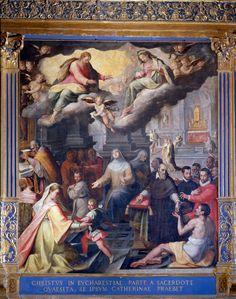 Pomarancio (Cristoforo Roncalli, detto il)  - Comunione miracolosa di Santa Caterina -  1582 - Siena (Italia) - Santuario Casa di Santa Caterina da Siena - Oratorio della Cucina