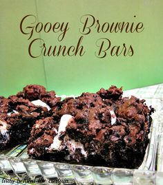 Lady Behind The Curtain - Gooey Brownie Crunch Bars
