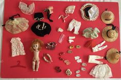 Lot of Vintage Accessories Ginny Doll Clothing Vogue Shoes Hats Velvet Dress + #GinnyVogue #Dollwithaccessories