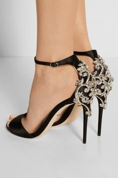 Heel measures approximately 105mm/ 4 inches Black satin Buckle-fastening ankle strap Made in Italy