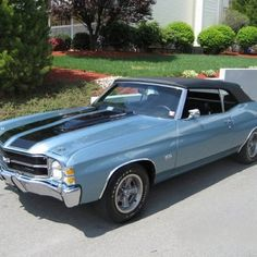 71 Chevy Chevelle SS my 1st boyfriend's car. Black w white stripes.