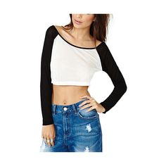 Contrast Long Sleeve Crop Top TS0150207 ($12) ❤ liked on Polyvore