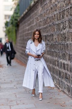 Working white. Trench, pants. Christine Centenera   PFW Spring-Summer 2015 Street Style