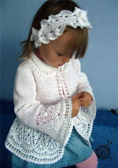 Veronica crochet y tricot. Little girl's lacy crochet jacket: charts (free pattern) Crochet jacket & Headband in russian with graph Toddler girl crochet sweater and matching headband Crochet for kids Crochet Jacket, Crochet Cardigan, Knit Crochet, Crochet Hats, Knitting For Kids, Crochet For Kids, Baby Knitting, Crochet Children, Free Knitting