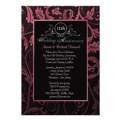 Black & Raspberry Damask 12th Wedding Anniversary Party Invites. Customize
