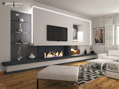 House Design, Luxury Living Room, Home Fireplace, Living Room Decor Fireplace, Fireplace Design, Living Room Partition Design, Tv Room Design, Luxury Room Design, Living Room Design Modern