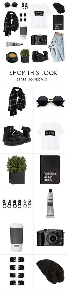 """""""426. Contest entry: Black Friday"""" by sollis ❤ liked on Polyvore featuring Dr. Martens, MANGO, Crate and Barrel, Dinks, Full Tilt, Aesop, ROOM COPENHAGEN, Olympus, Forever 21 and Tarnish"""