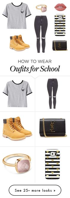 """""""School"""" by kittykitkat132 on Polyvore featuring Chicnova Fashion, Topshop, Timberland, Yves Saint Laurent, Lime Crime and Lily Blanche"""