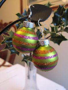 Christmas Earrings Green Christmas Bulb Earrings by SmithNJewels, $15.00