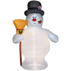 LARGE 10ft INFLATABLE AIRBLOWN FROSTY SNOWMAN w PROJECTOR Christmas Light Movie