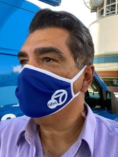 The perfect blend of Dodger Blue and Eyewitness News is looking good on Sid Garcia. Does your station have logo masks? Dodger Blue, News Anchor, Great Hairstyles, New Media, Masks, Coaching, Logo, Tv, Training