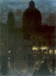 Wittelsbach Square in Munich at Night - Aleksander Gierymski, 1890 Polish Oil on canvas, 67 x 52 cm. Classic Paintings, Old Paintings, Beautiful Paintings, Moonlight Painting, City Painting, Nocturne, Prince, A4 Poster, Classical Art