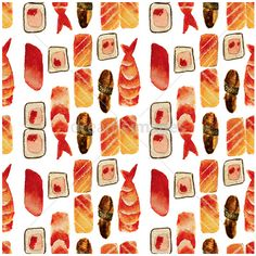 Sushi seamless pattern, hand-drawn illustration in watercolor